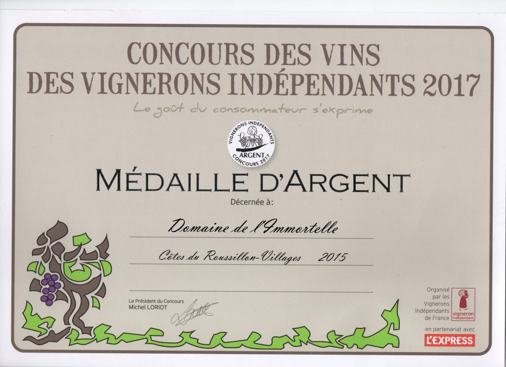 diplome medaille d'argent concours FVIR